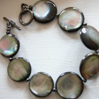 Circles of Grey Shell Bracelet